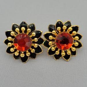 Premier Designs Red, Black, Gold Flower Earrings